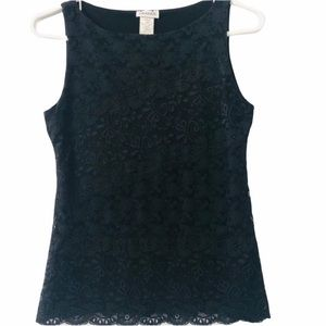 Arianne Black Lace Sleeveless Top, Size Small